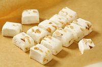 White soft nougat cubes