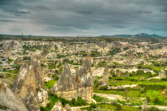 Sunrise panoramic view to Goreme city, Cappadocia, Turkey