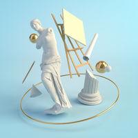 3d illustration concept of the ancient art, statue of Venus de Milo, column, easel, education, creative