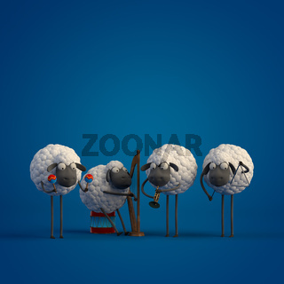 3d illustration four cute cartoon sheeps playing music on dark blue background