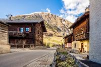 Traditional Alpine architecture in the village, Livigno, Italy, Alps