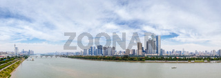 panoramic view of changsha skyline in cloudy