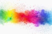 Set of variant color powder explosion on white background.Colorful dust explode. Painted Holi festiv