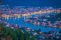 Korcula. Town of Vela Luka evening panoramic view