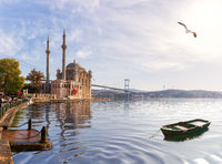 Ortakoy Mosque and the boat, beautiful view from the pier, Istanbul