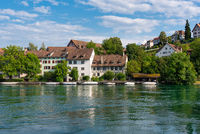 Historic houses on the banks of the Rhine in Schaffhausen
