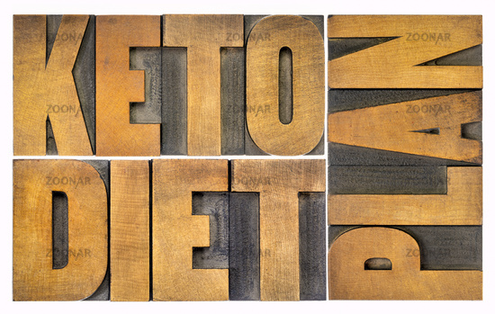 keto diet plan word abstract in wood type