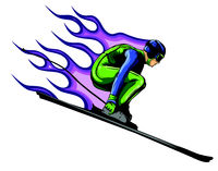 Silhouette of a skier jumping. Vector illustration. Sport concept.