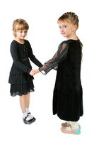 two girls in black dresses isolated on white background