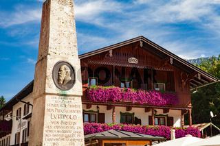 Schönau am Königssee, Germany - September 9, 2018:  Memorial to Prince Regent Luitpold of Bavaria, Lake Koenigssee, Berchtesgaden, Bavaria