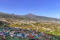 View over La Orotava from Mirador La Resbala towards mount Teide