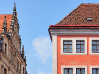 Facades of historic houses and town hall in the old town of Görlitz, Saxony, Germany