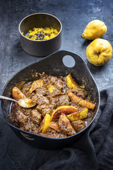 Traditional Iranian khoresh beh stew with chunks of lamb