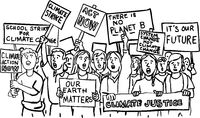 Young Students Protesting on Climate Change Drawing