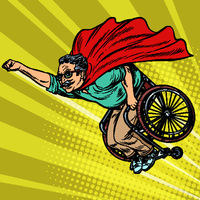man retired superhero disabled in a wheelchair. Health and longevity of older people