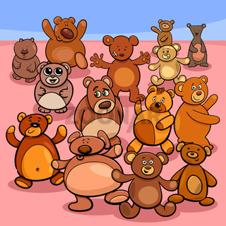 teddy bears group cartoon illustration