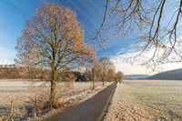Scenic rural autumn landscape with foot path and fields covered with frost