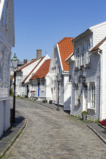Old Stavanger town in Norway September 2018, Traditional white houses