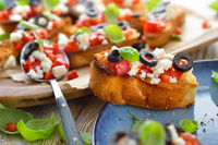 Bruschetta with feta and olives