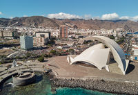Aerial photography drone point of view from above modern architecture of Santa Cruz de Tenerife townscape, major city, capital of the island of Tenerife, Canary Islands, Spain