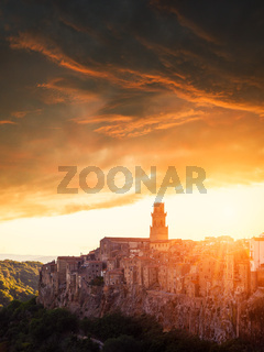 Sunset on the Tuscan city, Pitigliano