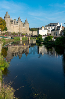 the Oust River canal and Chateau Josselin castle in Brittany