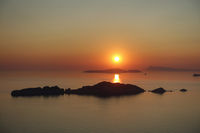 Picturesque sunset in Afionas, Corfu, Greece