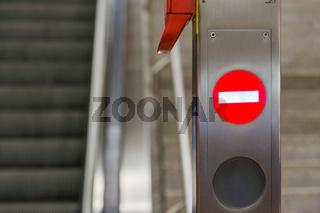 Escalator Light Symbols Arrow Stop Metal Pole Public Metro