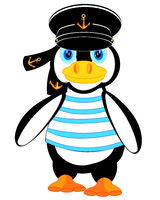 Animal penguin in form of the sailor