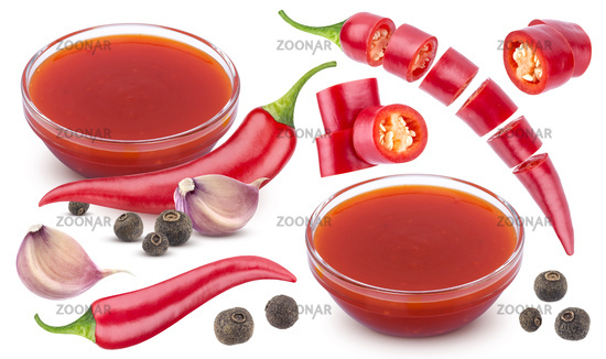 Chilli sauce ingredients isolated on white background