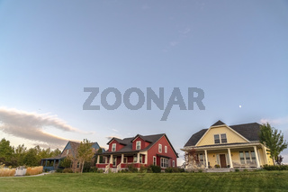 Colorful houses on a modern housing estate