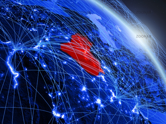 Iraq on blue blue digital globe