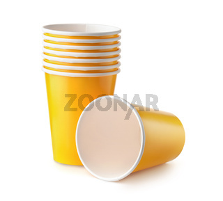 Group of yellow disposable paper cups
