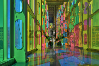 Colourful stained glass inside the Montreal convention centre, C