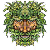 Green Man With Foliate Head Portrait Cartoon Retro Drawing
