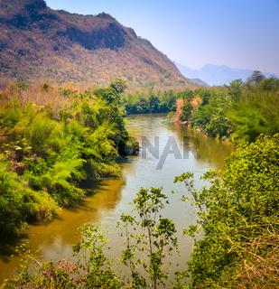 View of the Kwai river, Kanchanaburi, Thailand