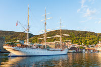 Statsraad Lehmkuhl is a three-masted barque in Bergen i Norway