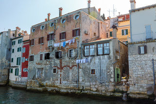 Colorful facade of an old house in Rovinj