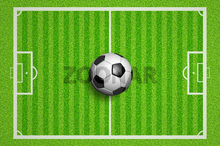 Soccerball court view in flat lay
