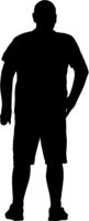 Black silhouette man standing, people on white background