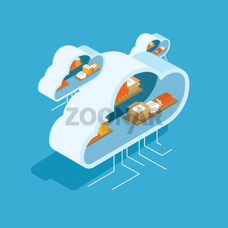 Vector illustration. Clouds with stuff in shelves.