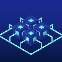 Cryptocurrency and blockchain isometric vector composition with blocks. EPS10