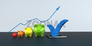Piggy Banks Growth Chart Blue Tick
