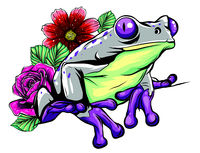 Cute frog cartoon. Cartoon frog sitting with flower, Vector illustration