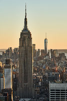 New York City with Empire State Building and One World Trade Center at sunset