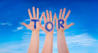 Hands With Tor Means Goal, Blue Sky