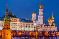 Moscow Kremlin in winter evening