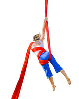 Woman Doing Fabric Acrobatic Isolated Photo