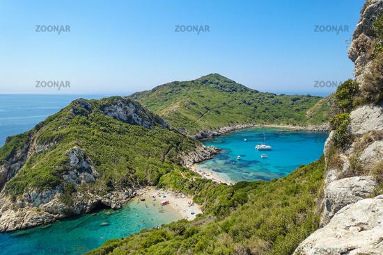Timoni Bay in Afionas, a popular tourist destination, Corfu, Greece