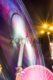 Wheel Swing Ride Rollercoaster Neon Lights Long Exposure Night Colorful